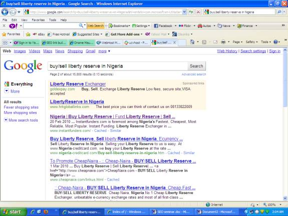 1st position on search keyword buy/sell liberty reserve in Nigeria as at 13/5/2010